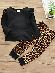 cheap -Baby Girls' Casual / Active Print Ruffle Long Sleeve Regular Cotton Clothing Set Black / Toddler