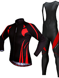 cheap -WOSAWE Men's Long Sleeve Cycling Jersey with Bib Tights Winter Fleece Polyester Silicone Black / Red Patchwork Bike Jersey Thermal / Warm Fleece Lining 3D Pad Reflective Strips Sports Patchwork