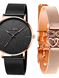 cheap -Men's Steel Band Watches Quartz Gift Set New Arrival Chronograph Analog Golden+Black Rose Gold Black / Rose Gold / Two Years / Stainless Steel / Japanese / Japanese / Two Years