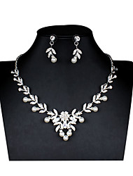 cheap -Women's White Bridal Jewelry Sets Link / Chain Flower Botanical Stylish Unique Design Imitation Pearl Rhinestone Earrings Jewelry Silver For Christmas Wedding Party Engagement 1 set
