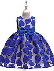 cheap -Kids Toddler Girls' Active Cute Trees / Leaves Color Block Jacquard Cut Out Bow Pleated Sleeveless Midi Dress Light Brown