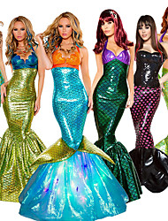 cheap -The Little Mermaid Aqua Princess Dress Cosplay Costume Masquerade Women's Movie Cosplay Cosplay Vacation Dress Halloween Golden / Gray & Green / Black Dress Halloween Carnival Masquerade Polyster