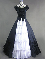 cheap -Vintage Princess Lolita Rococo Dress Cosplay Costume Female Japanese Cosplay Costumes White / Black / Red Patchwork Cap Sleeve Short Sleeve Maxi Long Length / Victorian
