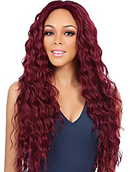 cheap -Synthetic Wig Curly Middle Part Wig Long Light Brown Black / White Black / Burgundy Brown / Burgundy Synthetic Hair 26 inch Women's Fashionable Design Women Synthetic Dark Brown Light Brown