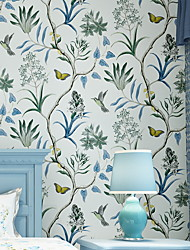 cheap -Wallpaper Wall Covering Sticker Film Silver Flower Flocking Adhesive Required Non Woven Home Décor 1000*53 cm