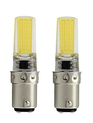 cheap -2pcs 3 W LED Bi-pin Lights 450 lm BA15D T 1 LED Beads COB Dimmable Warm White White 110/220 V / RoHS