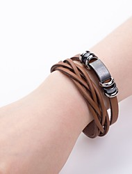 cheap -Men's Leather Bracelet Double Layered Weave European Leather Bracelet Jewelry Black / Brown For Daily