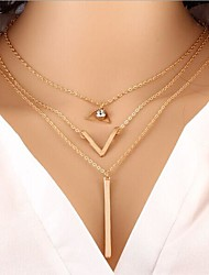 cheap -Women's Choker Necklace Pendant Necklace Classic Basic Fashion Zircon Chrome Gold 45 cm Necklace Jewelry 1pc For Daily Work / Collar Necklace