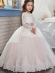 cheap -Ball Gown Sweep / Brush Train Wedding / Birthday / Pageant Flower Girl Dresses - Cotton / Lace / Tulle Long Sleeve Jewel Neck with Lace / Belt / Embroidery