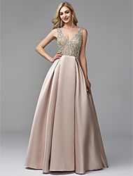 cheap -A-Line V Neck Floor Length Satin / Sequined Sparkle / Pink Prom / Party Wear Dress with Beading / Crystals 2020