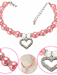 cheap -Dog Collar Necklace Adjustable Size Decoration Color Block Heart Alloy Purple Pink