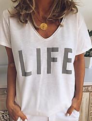 cheap -Women's T-shirt - Letter V Neck White