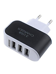 cheap -Portable Charger USB Charger EU Plug Multi-Output 3 USB Ports 1 A 100~240 V for Universal