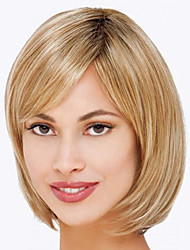 cheap -Human Hair Wig Medium Length kinky Straight Natural Straight Bob Blonde Fashionable Design Adjustable Lovely Capless Women's All Natural Black Strawberry Blonde / Light Blonde Light Auburn 12 inch
