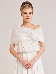 cheap -Sleeveless Shrugs / Capelets Organza Wedding / Party / Evening Women's Wrap With Flower