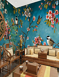 cheap -Blue Background Flowers Birds Suitable for TV Background Wall Wallpaper Murals Living Room Cafe Restaurant Bedroom Office XXXL(448*280cm