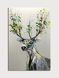 cheap -Oil Painting Hand Painted - Animals Modern Stretched Canvas