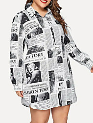 cheap -Women's Plus Size Shirt Dress - Long Sleeve Geometric Print Shirt Collar Street chic White XL XXL XXXL XXXXL