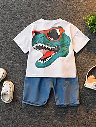 cheap -Baby Boys' Basic Print Short Sleeve Regular Cotton Clothing Set White / Toddler