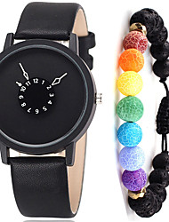 cheap -Couple's Sport Watch Quartz Gift Set Leather Black / White No Chronograph Cute Creative Analog New Arrival Minimalist - White Black Black / White One Year Battery Life