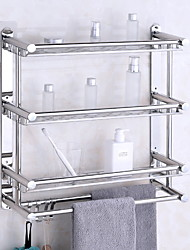cheap -Floating Shelves With Towel Bar 3 Layers Premium SUS 304 Contemporary Stainless Steel 1pc Wall Mounted
