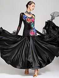 cheap -Ballroom Dance Dress Appliques Crystals / Rhinestones Women's Performance Long Sleeve High Mesh Spandex Imitation Silk