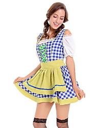 cheap -Oktoberfest Beer Dirndl Trachtenkleider Women's Dress Bavarian Costume Blue Yellow