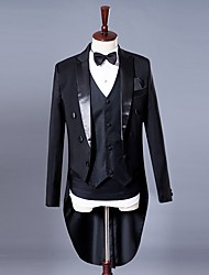 cheap -Tuxedos Tailored Fit Peak No Buttons Cotton Blend Solid Colored