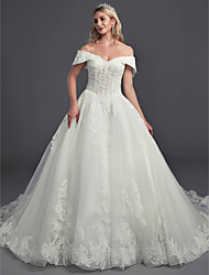 cheap -Ball Gown Off Shoulder Chapel Train Lace / Tulle Sleeveless Cutouts Made-To-Measure Wedding Dresses with Lace 2020