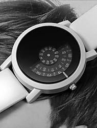 Недорогие -Муж. Нарядные часы Кварцевый Кожа Черный / Белый Повседневные часы Цифровой Мода - Белый Черный Черный / Белый Один год Срок службы батареи / Нержавеющая сталь