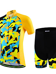 cheap -Boys' Girls' Short Sleeve Cycling Jersey with Shorts - Kid's Black / Red Black / Blue Black / Yellow Camo / Camouflage Bike Clothing Suit Breathable Moisture Wicking Quick Dry Sports Lycra Camo
