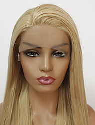 cheap -Synthetic Lace Front Wig Straight Minaj Style Layered Haircut Lace Front Wig Golden Light golden Synthetic Hair Women's Heat Resistant / Women Golden Wig Long / Yes