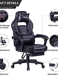 cheap -VON RACER Massage Reclining Gaming Chair - Ergonomic High-Back Racing Computer Desk Office Chair with Retractable Footrest and Adjustable Lumbar Cushion (Black)
