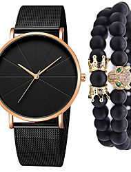 cheap -Men's Steel Band Watches Quartz Gift Set Minimalist Chronograph Analog Black / Blue Rose Gold Black / Rose Gold / One Year / Stainless Steel / Large Dial