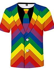 cheap -Men's Daily Wear T-shirt - Color Block Round Neck Rainbow / Short Sleeve