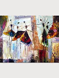 Недорогие -Hang-роспись маслом Ручная роспись - Абстракция Люди Modern Включите внутренний каркас