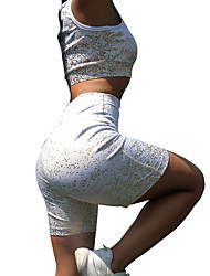 cheap -Women's 2pcs Tracksuit Yoga Suit Solid Color White Yoga Running Fitness High Waist Shorts Bra Top Clothing Suit Sleeveless Sport Activewear Lightweight Tummy Control Breathable Sweat-wicking