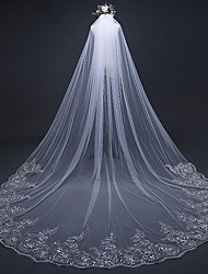 cheap -One-tier Luxury / Lace Applique Edge Wedding Veil Cathedral Veils with Sequin / Appliques 118.11 in (300cm) Lace / Tulle / Oval