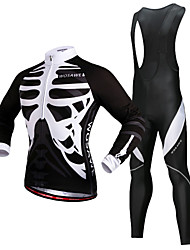 cheap -WOSAWE Men's Long Sleeve Cycling Jersey with Bib Tights Black Skeleton Bike Jersey Thermal / Warm 3D Pad Reflective Strips Winter Sports Polyester Silicone Fleece Skeleton Mountain Bike MTB Road Bike