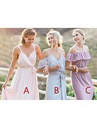 cheap -A-Line Halter Neck / Spaghetti Strap Floor Length Chiffon Bridesmaid Dress with Sash / Ribbon / Ruching