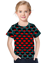 cheap -Kids Toddler Girls' Active Basic Geometric Print 3D Print Short Sleeve Tee Red