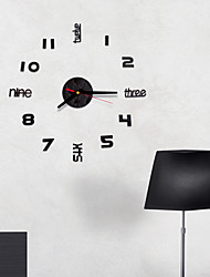 cheap -Modern Style / Fashion Acrylic Round Classic Theme Indoor Battery Decoration Wall Clock Yes Black No