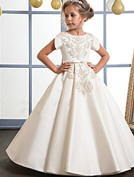 cheap -A-Line Floor Length Flower Girl Dress - Cotton / Mikado Short Sleeve Jewel Neck with Pattern / Print / Sash / Ribbon