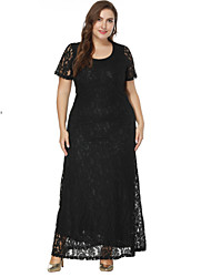 cheap -A-Line / Sheath / Column Jewel Neck Floor Length Lace Formal Evening Dress with Lace Insert by LAN TING Express