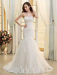 cheap -Mermaid / Trumpet Sweetheart Neckline Court Train Lace / Tulle Strapless Made-To-Measure Wedding Dresses with Appliques / Lace / Ruched 2020