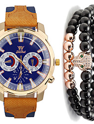 cheap -Men's Sport Watch Quartz Gift Set Leather Black / Blue / Red No Chronograph Cute Cool Analog New Arrival Fashion - Black Red Blue One Year Battery Life / Large Dial
