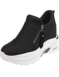 cheap -Women's Canvas Spring & Summer Casual Sneakers Hidden Heel Round Toe Black / Red