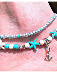 cheap -Women's Ankle Bracelet Beaded Starfish Anchor Vintage European Ethnic Fashion Resin Anklet Jewelry Blue For Daily