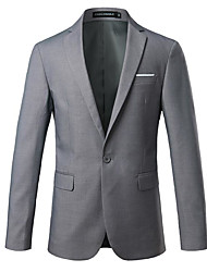 cheap -Black / Gray / Dark Navy Solid Colored Slim Fit Cotton Suit - Notch Single Breasted One-button