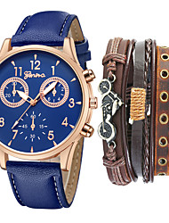 cheap -Men's Sport Watch Quartz PU Leather Black / Blue / Brown No Chronograph New Design Casual Watch Analog Casual New Arrival - Black Brown Black / White